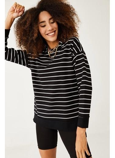 XHAN Siyah & Beyaz Çizgili Sweatshirt 1Kxk8-44429-02 Siyah